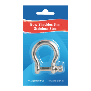 stainless steel bow shackles 6mm blister