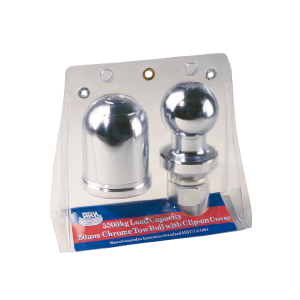 3.5 Ton. 50mm Chrome Tow Ball & Chrome Tow Ball Cover with Spring Clip blister