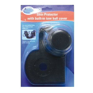 shin protector with built-in tow ball cover blister
